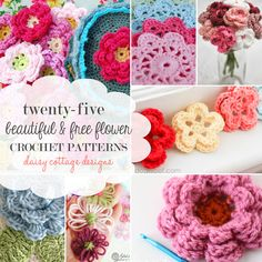 round up of 25 Free Flower Crochet Patterns by Daisy Cottage Designs