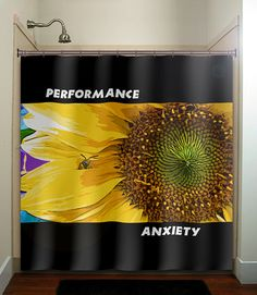 Performance Anxiety Shy Bee Sunflower Shower Curtain