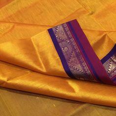 SC2400005- Thamboori handwoven pure kanjivaram silk cotton- mango yellow purple beauty