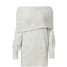 Rental Joie Porcelain Tweed Femie Sweater found on Polyvore featuring tops, sweaters, dresses, grey, gray sweaters, off the shoulder sweater, grey top, long sleeve sweater and grey off shoulder sweater