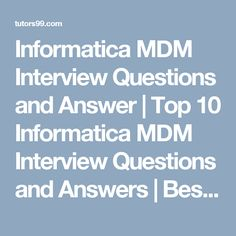 29 Best informatica mdm images in 2017 | Question, answer, Home
