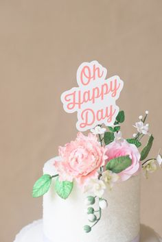 Oh Happy Day cake topper - photo by Alyssa Alig Photography http://ruffledblog.com/georgia-summer-southern-wedding-inspiration #caketopper