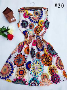 Desigual Apricot Sleeveless Round Neck Florals Dress