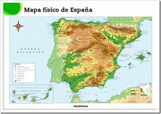 Mapa físico de España[3] Spain, World, Homeschooling, Pokemon, Science, Socialism, Social Science, Pictures Of Maps, The World