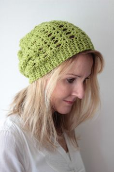 Slouchy lacy hat beanie crocheted – light green