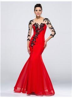 魅力的な人魚/トランペットビーズアップリケは、フロントイブニングドレスを分割