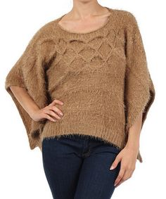 Taupe Knit Cape-Sleeve Sweater by Michael K #zulily #zulilyfinds