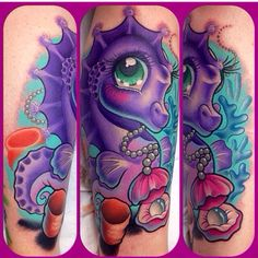 Girly sea horse tattoo by Leah Moule