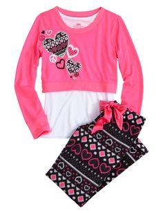 Heart Crop Over Long Fleece Pajama Set | Pant Sets | Pajamas | Shop Justice Size 7