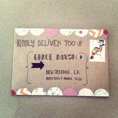 Snail mail art at its best. Mail Art Envelopes, Addressing Envelopes, Snail Mail Pen Pals, Little Presents, Pen Pal Letters, Fun Mail, Envelope Art, Origami, Scrapbooking