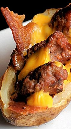 Bacon Cheeseburger Potato Skins - Depending on the size of the potato, this could be a meal or an appetizer ❊
