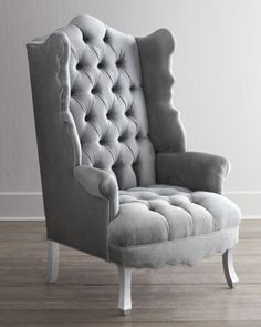 """2nd Floor / In The Cherise Laundry Room / """"Isabella"""" Chrome Wing Chair by Haute House at Neiman Marcus."""