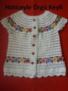 Vest decorated with colorful flowers Crochet Baby Dress Pattern, Crochet Baby Clothes, Gilet Crochet, Crochet Blouse, Crochet Girls, Crochet For Kids, Lace Knitting, Baby Knitting Patterns, Diy Crafts Dress