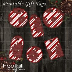 INSTANT DOWNLOAD Tags, Poinsettias and Stripes Combo Gift Tags, Printable Digital Collage Sheet, Different Sizes, Labels, Christmas Tags #Tags #Christmastags #holidaytags #poinsettias #redstripes #foodlabels