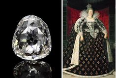 The 'Beau Sancy' diamond and Marie de Medici wearing it at her coronation in 1610 as Queen Consort of Henri IV - it is a 34.98 modified pear double rose cut, likely discovered in the area of Golconda, India. It is to be included in Sotheby's Geneva Magnificent Jewels and Noble Jewels auction on May 14 & 15, 2012.