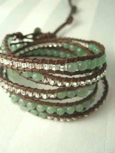 Chan Luu Style Aventurine Leather Wrap Bracelet