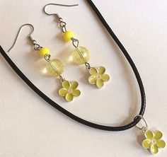 Plumeria Flower Necklace Earrings Buttercup Yellow Hawaii Island Silver Plated #Unbranded #Pendant