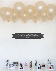 Grad Party Ideas You'll Want To Steal Immediately Tie photos to balloons for a super festive alternative to a photo wall.Tie photos to balloons for a super festive alternative to a photo wall. Balloon Chandelier, Diy Chandelier, Chandelier Wedding, Party Deco, Ideas Geniales, Partys, Grad Parties, Photo Displays, Display Photos