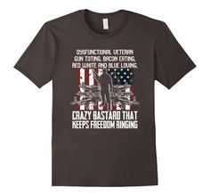 Men's Military Veteran Guns Bacon Freedom Crazy Bastard Tee 2XL Asphalt