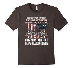 Men's Military Veteran Guns Bacon Freedom Crazy Bastard Tee 2XL Asphalt