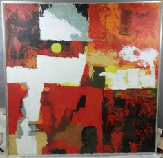 ORIGINAL-MID-CENTURY-MODERN-1960-1970-039-s-Abstract-OIL-PAINTING-by-Lee-Reynolds