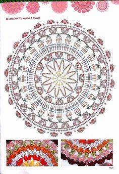 crochet mandala pattern Sunday Shawl pattern by Alia Bland - piceo Motif Mandala Crochet, Crochet Circles, Crochet Diagram, Crochet Stitches Patterns, Crochet Chart, Thread Crochet, Stitch Patterns, Crochet Tablecloth, Crochet Doilies