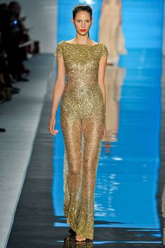 Gold sparkle at Reem Acra Spring 2013 RTW Collection #NYFW