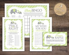 Instant Download, Elephant Baby Shower Games Package for Boy Girl, Bingo Cards, Price Is Right, Wish for Baby, Diaper Raffle, Green 22D on Etsy, $3.75