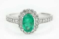 1.70ct Emerald Oval & Diamond Halo Engagement Ring, emerald engagement Ring, Art Deco emerald engagement ring, Floral Emerald Ring $1468 more my rings sizem but Jeff will not buy me a 5 cent ring, which he still won;t repalce