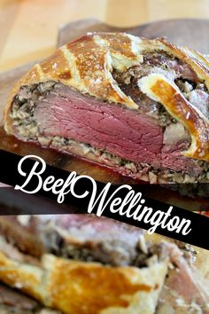 BEEF WELLINGTON <3 This recipe is a classic. It is savory and ridiculous and rich. You need time, but no special skill or equipment to achieve an impressive, delicious dinner, for a holiday or special occasion, or an unremarkable Thursday in May. To gild the lily, we served ours with creamed spinach and a dry vodka martini. - RECIPE