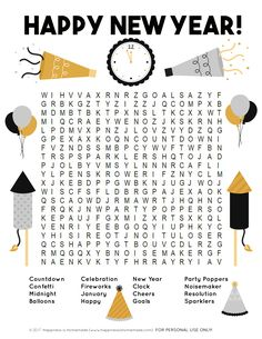 This fun New Year's Word Search printable puzzle is a ton of fun for families and kids of all ages! Perfect for teachers and students in the classroom!