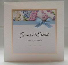 Vintage Wedding Invitation, Floral, Blue