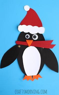 Christmas Penguin Kids Craft. Make adorable paper penguins with your kids using simple craft supplies like construction paper, googly eyes, and glue!