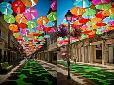 Portugal – In the town of Agueda, Portugal, umbrellas of different colors are in suspension in the shopping streets.