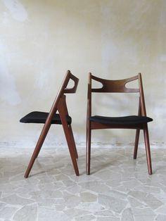 Hans J. Wegner; #CH29 Teak 'Sawbuck' Chairs for Carl Hansen & Son, 1951.