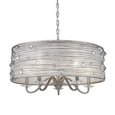 "Golden Lighting Josie 5 Light Chandelier $537  SKU: GNL3252 Fixture: 15.5"" H x 25.25"" W x 25.25"" D Length of the chain is 6 feet, and the wire has a length of 10 feet"