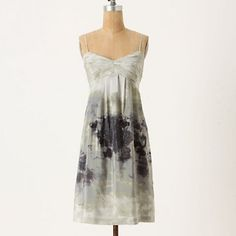 Fei Charcoal Terrace dress for Anthro Beautiful silk dress in muted greys and miss. Spaghetti straps and fully lined with lace at the edge of lining. Zips up the side and has adjustable straps. Anthropologie Dresses