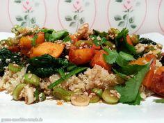 Aufgenommen in die persönliche Kürbis-Hall-of-Fame kochte Björn gebratenen Hokkaido-Kürbis mit Soja-Sesam-Marinade auf einem Quinoa-Spinat-Bett