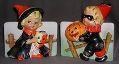 RELPO Halloween Planters Pair Witch Girl w/Mask & Clown Boy w/Pumpkin Scarce! (10/12/2015)