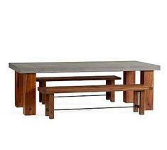 Abbott Chunky Leg Dining Table & Abbott Bench Dining Set #potterybarn