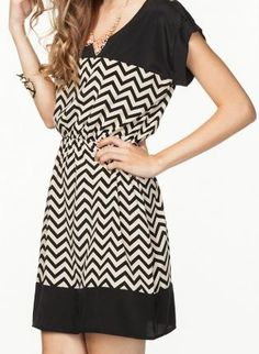 Capped Black and White Chevron Dress,  Dress, chevron dress, Casual