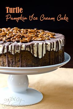 I will never make this, but the presentation is awesome!!  Turtle Pumpkin Ice Cream Cake: An Easy and Impressive #Thanksgiving Dessert | ASpicyPerspective.com #holidays #icecream #pumpkin