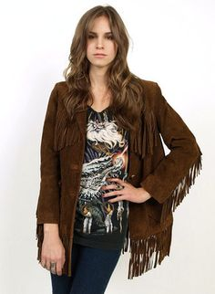 Vtg 70s Brown Suede Fringe Leather Hippie Boho Rocker Jacket Coat s M | eBay