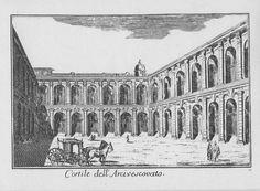 """Palazzo Arcivescovile, Cortile dei Canonici, via Arcivescovado, Milano. Marc'Antonio Dal Re, """"Vedute di Milano"""", incisione 58 (ca. 1745)."""