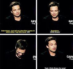 Sebastian Stan, on the word 'superhero' <- Same Seb, same.