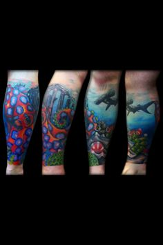 This is an awesome shark/octopus nautical tattoo.