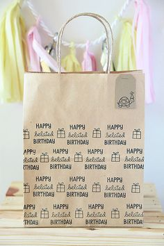 Cheep but lovely party favours made from brown Kraft shopping bag which has been hand stamped