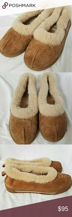 UGGS Sz 9 Authentic Chestnut Suede & Fur Slippers Brand: Uggs  Item: *Chestnut Brown Sheepskin Suede & Cream Faux Fur Slippers *Style Rylan, Style Number 1871 *Ladies, Size 9 *Pics 6 & 7 Show the Authentic Halogram *Excellent, Like New Conndition  *no trades, offers via offer button only* UGG Shoes Slippers