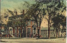 Post office & custom house, & RCR. Officers' Quarters, Fredericton, NB: Amelia's cards were graciously donated to the museum by Sylvie Duquette of Lacolle, Québec. These records can be viewed at the New Brunswick Provincial Archives. They are catalogued in the York Sunbury Historical Society Collection (MC300-MS126). The correspondences on the back of the postcards have been posted on the Fredericton Region Museum Facebook page. New Brunswick, Historical Society, Post Office, Quebec, Custom Homes, Amelia, Postcards, Museum, York