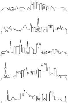 Resultado de imagem para One-Line city tattoo